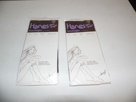 Vintage 1982 Hanes Ultra Sheer Nylon Kneehighs Sandalfoot Barely Black L... - $17.82
