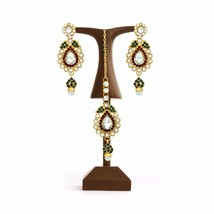 Ethnic Bollywood Fashion Jewelry Gold Tone Green Maroon Indian Earrings ... - $14.84