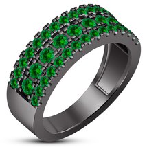 10k Black Gold Finish Pure 925 Silver Green Sapphire Engagement Men's Ba... - $111.87