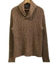 Vtg Polo Ralph Lauren Shawl Collar Sweater men medium Cotton Linen Brown... - $34.64