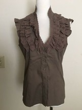 NWT BCBG Brown Ruffle Collar Cap Sleeve Top in Medium - $23.22