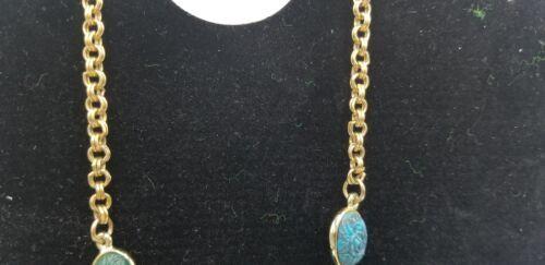 Vintage Gold Tone With Multi Color Plastic Floral Designs Necklace & Earring Set
