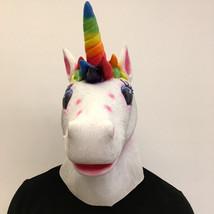 Unicorn Mask Helmet Halloween Cosplay Season Natural Platex Rainbow Version image 4