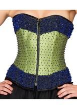 Green Satin Handmade Sequins Gothic Halloween Costume Overbust Corset Top - $65.16