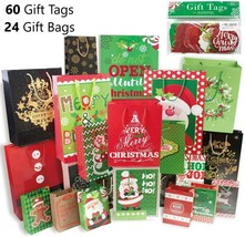 Christmas Assorted Gift Bags 24Pcs Holiday Paper Boxes Reusable Party Fa... - $48.37