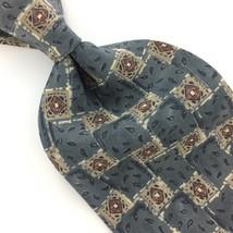 VINTAGE ZYLOS GEORGE MACHADO USA TIE PAISLEY GRAY BROWN Silk Necktie IS8... - $15.83