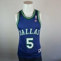 Champion Blue Green Jason Kidd #5 Dallas Mavericks Basketball NBA Jersey Mens 36 - $39.99
