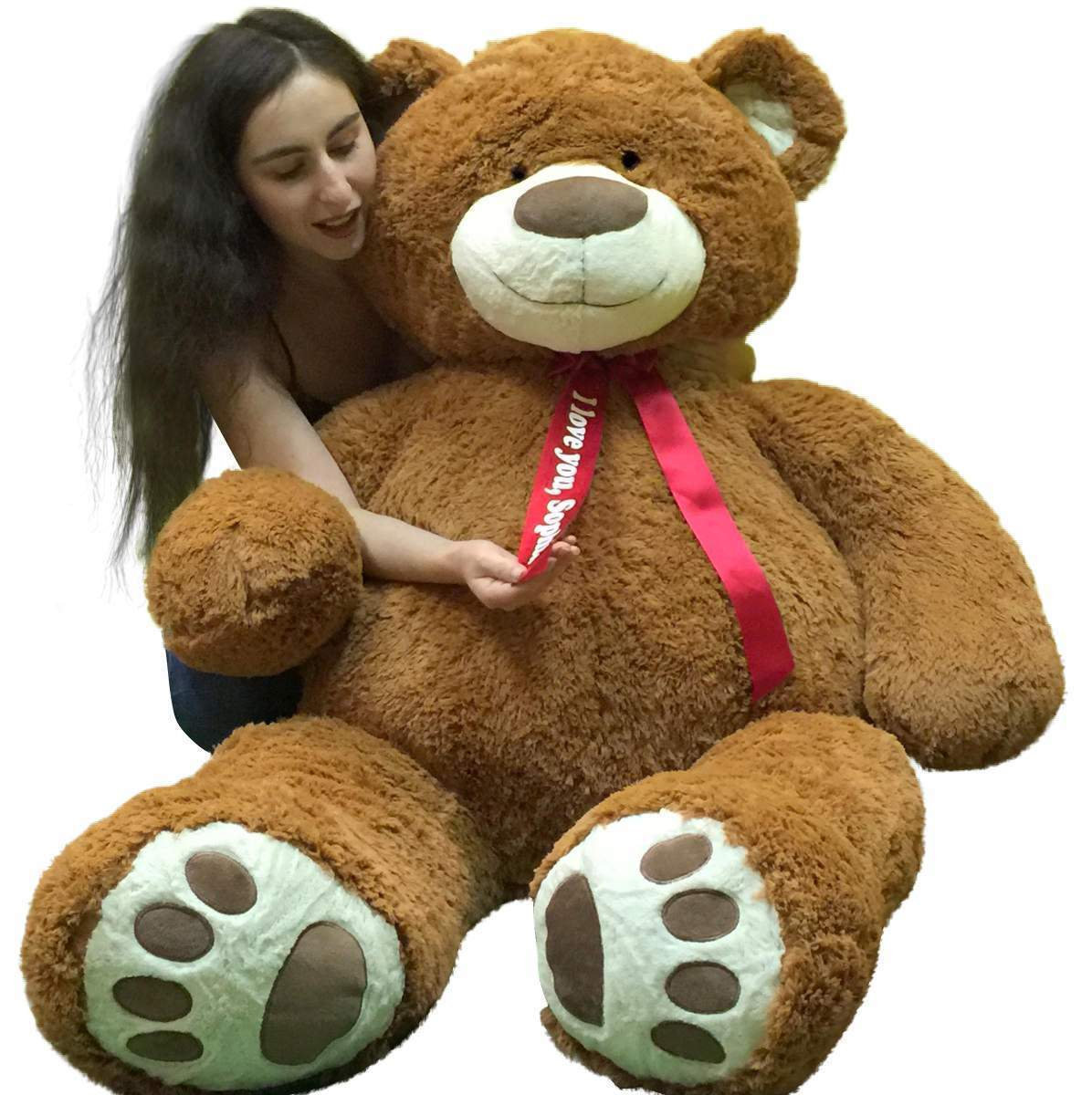 Primary image for Personalized 5 Foot Very Big Smiling Teddy Bear Five Feet Tall Cookie Dough Brow