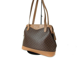 Authentic CELINE MACADAM PVC Canvas Leather Browns Shoulder Bag CT11937L - $119.00