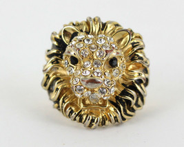 Vintage Lion W/ Mane Pave Glass Rhinestone Gold Plated Black Enamel Ring... - $51.29