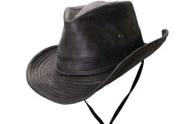 Dorfman Pacific Weathered Outback Hat with Chin Cord (Medium, Black) - $63.71