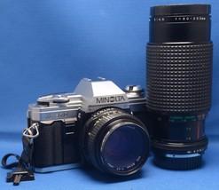 MINOLTA X-370 VINTAGE SLR 35mm Film Camera 50mm f/1.7 MACRO 80-200mm f/4... - $95.40