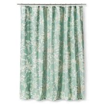 Threshold Teal Blue White & Gray Floral Shower Curtain With Birds EUC - $24.97
