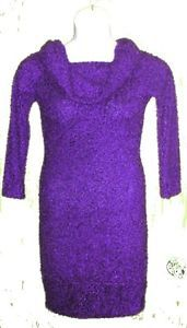 Poema 100% Rayon Sweater Dress in Blue or Red Violet