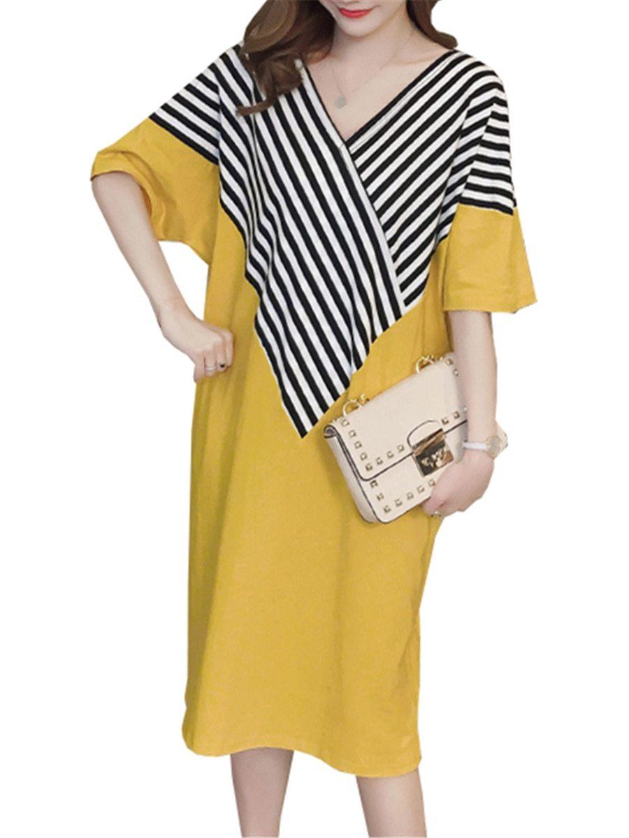 Maternity Dress Patchwork Color Block Stripes Batwing Sleeve V Neck Loose Dress