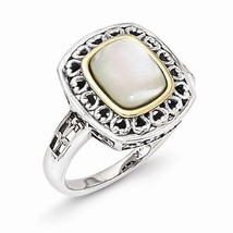 ANTIQUED STERLING SILVER & 14K GOLD MOP/MOTHER OF PEARL RING -  SIZE 8 - £53.74 GBP