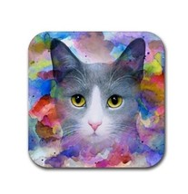 Rubber coasters set of 4, Cat 612 grey gray art painting by L.Dumas - $13.99