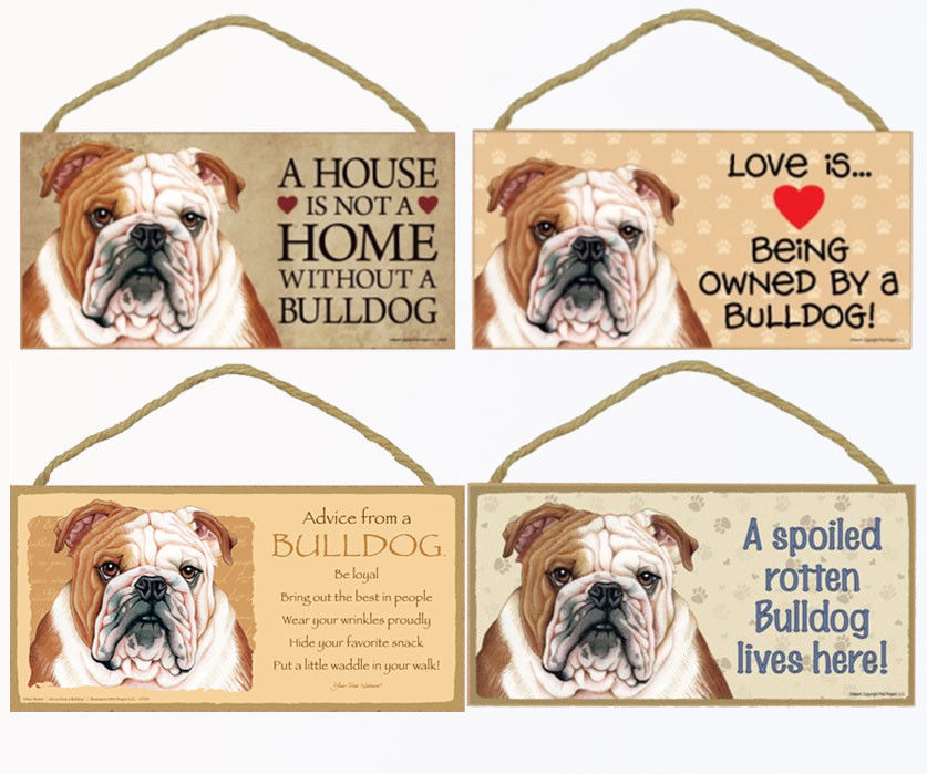 """Bulldog Dog Sign Plaque 10""""x5"""" House not Home, Spoiled Lives Here Love Advice"""