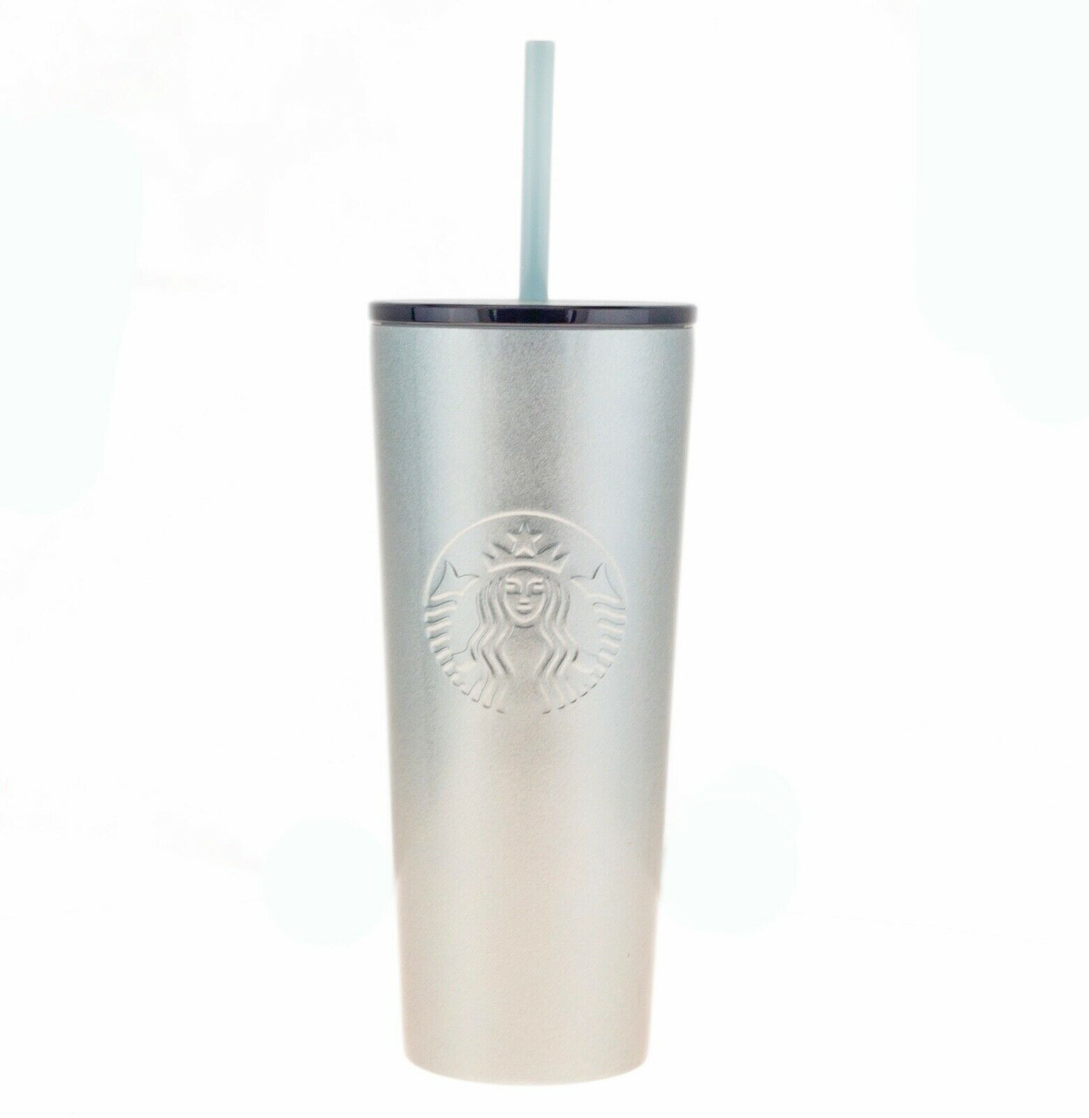 Primary image for Starbucks Cold Cup Silver Blue Glitter Stainless Steel Tumbler Cold Cup 16oz