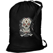 Floral Sugar Skull New Laundry Camp Travel Shop Tote Bag, Day of the Dead - $27.55 CAD