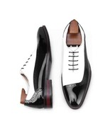 Handmade Men's Two Tone Black White Brogue Lace Up Round Toe Dress Shoes - $159.97+