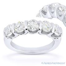 Forever Brilliant Round Cut Moissanite 14k White Gold 5-Stone Ring Weddi... - €1.110,70 EUR+