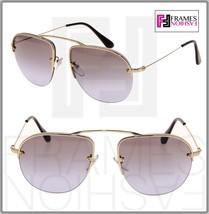 PRADA TEDDY PR58OS Aviator Pale Gold Lilac Gradient Rimless Sunglasses 58O - $228.99