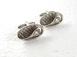 Vintage Silvertone & Sparkly Rhinestone Cufflinks By SHIELDS 71017 - $22.76