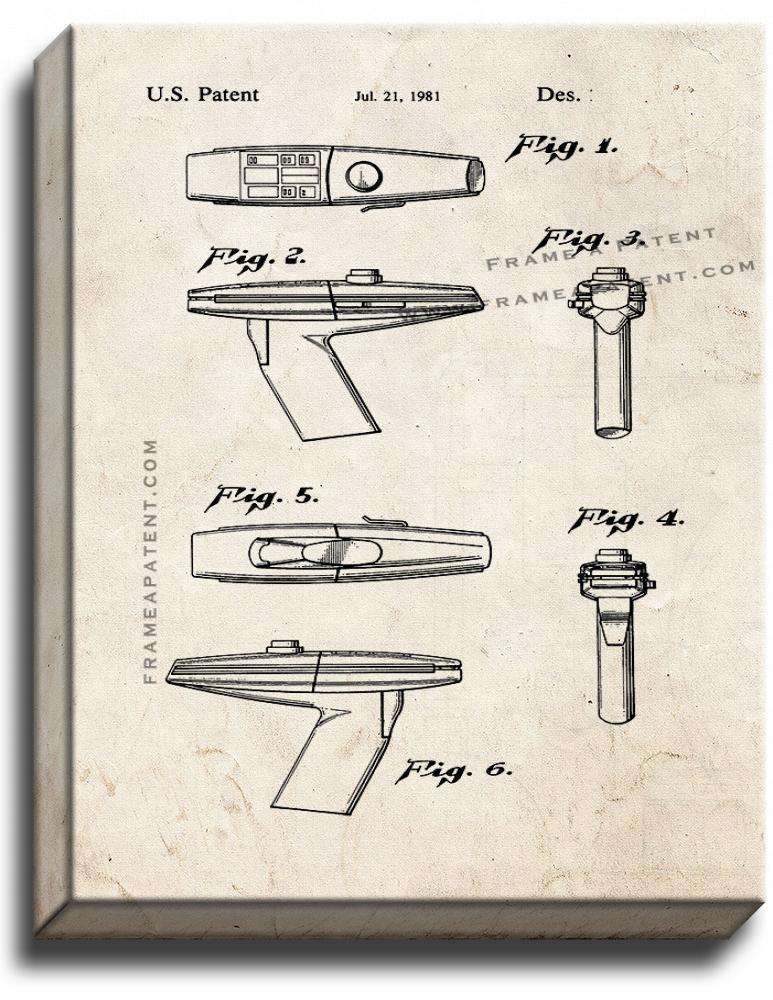 Primary image for Star Trek Phaser Patent Print Old Look on Canvas