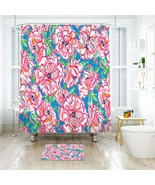 Flower Lilly Roses Pattern 06 Shower Curtain Waterproof & Bath Mat For B... - $15.30+