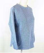 J. JILL Size M Blue Slant-Seam Cotton Sweater - $19.99