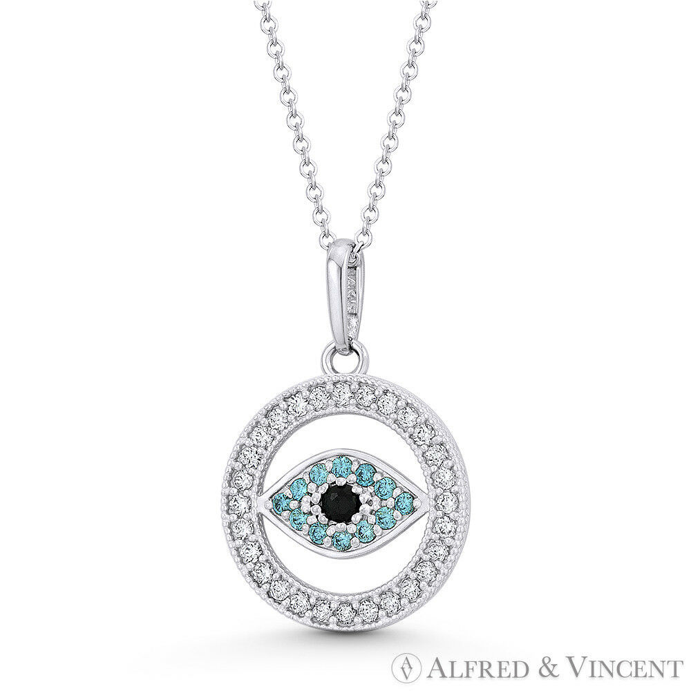 Primary image for Evil Eye Turkish Greek Luck Charm 18mmx12mm CZ Crystal Pendant in 14k White Gold
