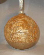 "Gold Ornament Ball Glass Trees Glittery Large 5"" Hand Painted Stony Cree... - $14.84"