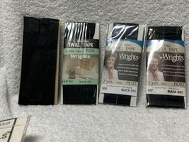 Wrights Twill Tape, 1/2 In W By 3 Yards; Black; New And Unopened Lot Of 4. - $23.75