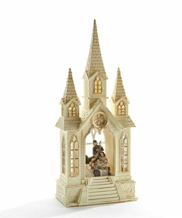 "16"" LED Church Shaped Water Lantern w Nativity Scene Decoration Cream Color"