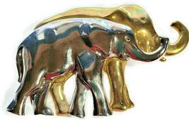 "Liz Claiborne Fashion Brooch Pin Elephant Family Gold & Silver Tone 3"" - $24.99"