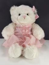 Build A Bear Pink White Princess Bear Dress BABW Pink Sparkles Plush Stu... - $15.83
