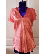 Laura Ashley pink chiffon and silk top - $35.00