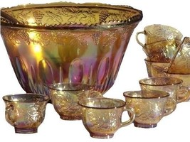 Indiana Glass Gold Carnival Harvest Princess Grape Punch Bowl & Cup Set - $118.80