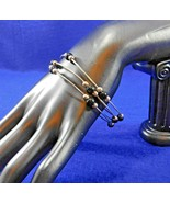 Set of 3 Vintage Bangle Bracelets - Black & Silver Beads - Silver Tone - $8.50
