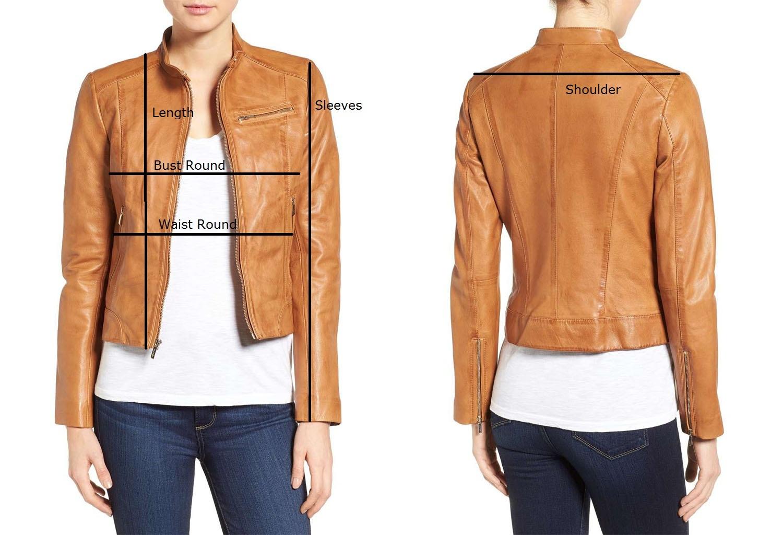 Women Slim fit Lambskin  Real Brown Aintique Leather Moto Biker Jacket-LD-02 image 5