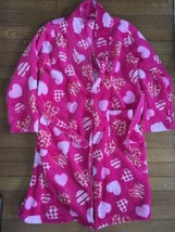 * Childrens Place Plush Fluffy Pink heart Print Robe Size large 10 / 12 ... - $14.80