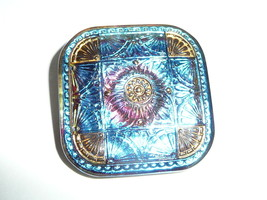 Wonderful Blue & Purple w/ Gold Colored Accents Square Czech Glass Shank... - $9.49
