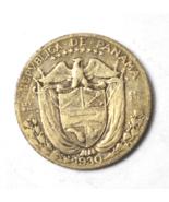 1930 Panama 1/10 Tenth Balboa KM# 10.1 Silver Coin - $13.11 CAD