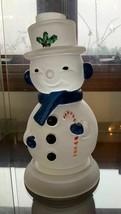 Mosser Glass Hand Painted Crystal Satin Snowman Fairy Lamp - $145.00