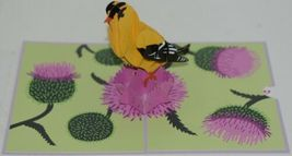 Lovepop LP1960 Goldfinch Pop Up Card Purple Slide Out Note Cellophane Wrapped image 3