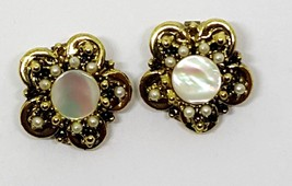 Vintage Gold Plated Mother Of Pearl Faux Pearl Clip Earrings  - $2.69
