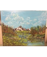 "Original Acrylic Canvas Painting Signed ""LANDSCAPE"" 20 x 16 FREE SHIPPING - $48.38"