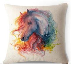 Oil Painting Horse Head Hand Painted Throw Pillow Case Cotton Blend Linen - $308,99 MXN