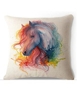 Oil Painting Horse Head Hand Painted Throw Pillow Case Cotton Blend Linen - $18.97 CAD